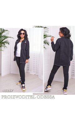 Куртка AV1 джинсовая удлиненная R-40287 черный