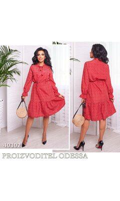 Платье mv-100 женское рукав фонарик цветочный принт R-40302 красный