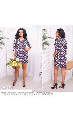 Платье mv-1999 женское рукав 3/4 с цветочным принтом R-40315 черный
