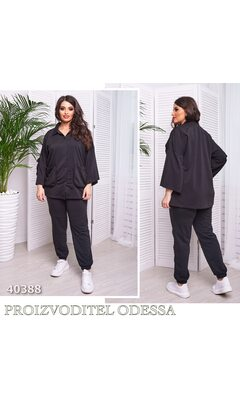 Костюм двойка ur-0018 прогулочный кофта с накладными карманами+штаны R-40388 черный