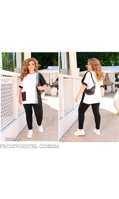Спортивный костюм спорт-шик 22 прогулочный отделка накладной карман R-39879 черный+белый
