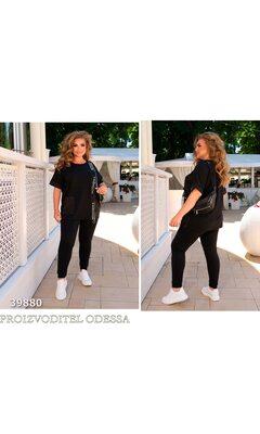 Спортивный костюм спорт-шик 22 прогулочный отделка накладной карман R-39880 черный