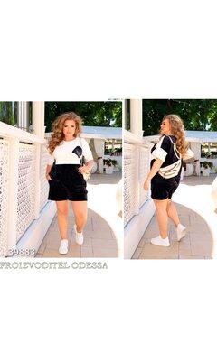Спортивный костюм спорт-шик 24 прогулочный велюровый с шортами R-39883 черный