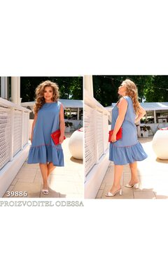 Платье it-5165 женское свободного крооя низ отделка оборка R-39886 джинс