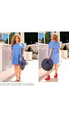 Платье it-7215 летнее вырез анжелика отделка волан R-39892 голубой