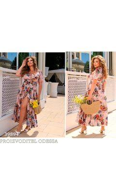Платье it-7220 женское на запах в цветочный принт+пояс R-39894 розовый