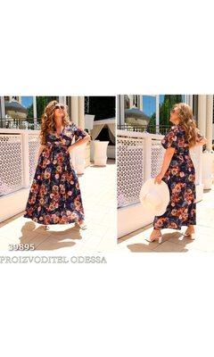 Платье it-7220 женское на запах в цветочный принт+пояс R-39895 синий