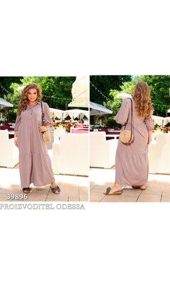 Платье ig-7208 повседневное в пол свободного кроя с воротничком R-39896 серый