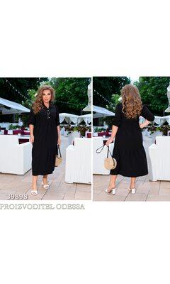 Платье ig-7208 повседневное в пол свободного кроя с воротничком R-39898 черный