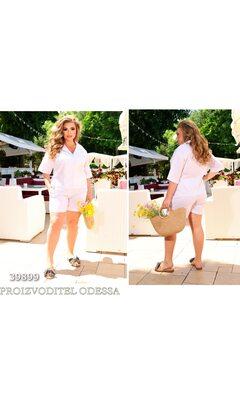 Костюм ig-7219 прогулочный ил льна рубашка+шорты R-39899 белый
