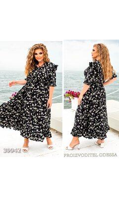 Платье женское отрезное юбка-солнце цветочный принт R-39942 черный
