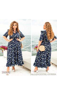 Платье женское отрезное юбка-солнце цветочный принт R-39943 синий
