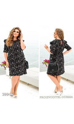Платье женское в цветочный принт рукав отделка рюш R-39946 черный