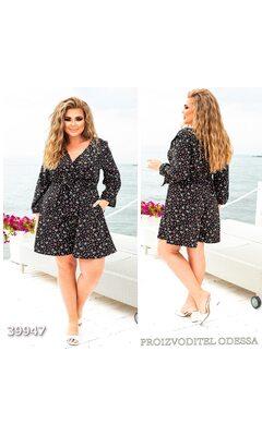 Комбинезон женский с цветочным принтом шортами R-39947 черный