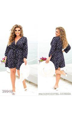 Комбинезон женский с цветочным принтом шортами R-39948 синий