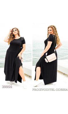 Платье z-8261 женское макси свободного кроя с асимметричным однотонное R-39956 черный