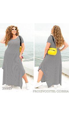 Платье z-8261 женское макси свободного кроя с асимметричным принт полоска R-39957 черный+белый