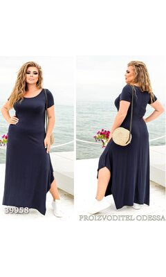 Платье z-8261 женское макси свободного кроя с асимметричным однотонное R-39958 синий