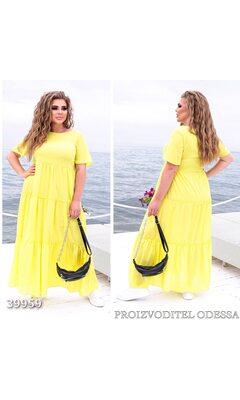 Платье z-8318 летнее макси отрезное с коротким рукавом R-39959 желтый