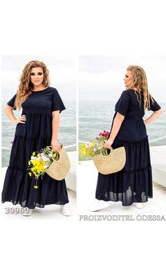 Платье z-8318 летнее макси отрезное с коротким рукавом R-39960 черный