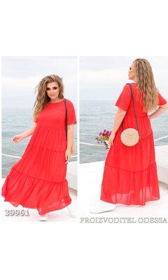 Платье z-8318 летнее макси отрезное с коротким рукавом R-39961 красный