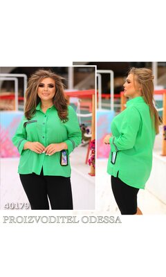 Рубашка s-1005 женская на кнопках отделка тесьма R-40179 зеленый