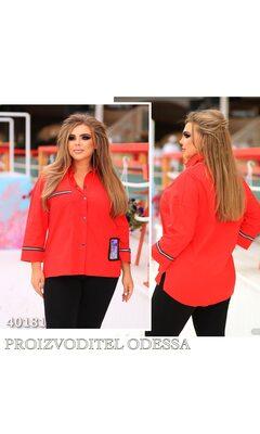 Рубашка s-1005 женская на кнопках отделка тесьма R-40181 красный