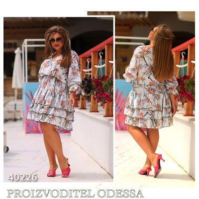 Платье ig-7209 женское юбка отделка рюш R-40226 белый