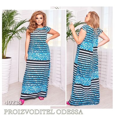 Платье ig-7232 повседневное макси принт полоска R-40238 синий
