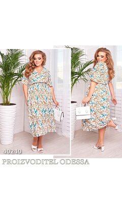 Платье ig-7233 повседневное V-образный вырез с принтов R-40240 белый+бирюзовый