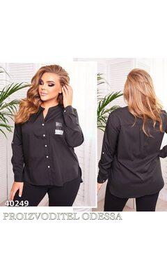 Рубашка 258 женская с длинным рукавом декорирована нашивкой R-40249 черный