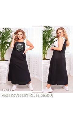 Сарафан 1111 женский лен на шлейках декорирован накатом R-40251 черный