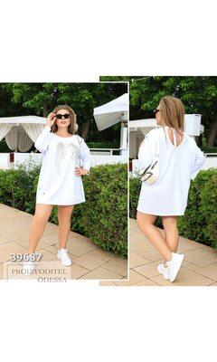 """Платье-футболка y-5080 женское накат """"Крылья"""" R-39687 белый"""