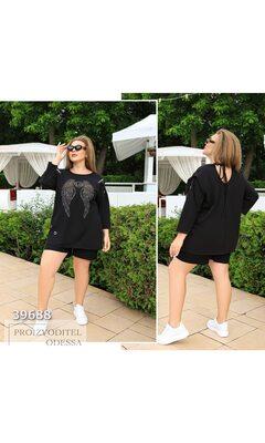 """Платье-футболка y-5080 женское накат """"Крылья"""" R-39688 черный"""