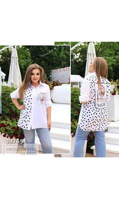 Рубашка fa-505 женская с накладным карманом принт горох R-39765 белый