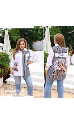 Рубашка fa-505 женская с накладным карманом принт полоска R-39766 белый+черный