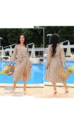 Платье th-218 женское с разрезом в цветочный принт+пояс R-39874 бежевый