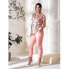 Костюм двойка bb-143 женский повседневный блуза+брюки пудра