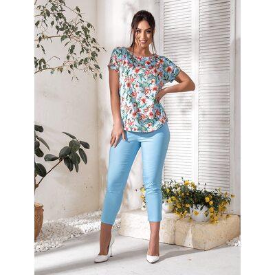 Костюм двойка bb-143 женский повседневный блуза+брюки голубой Производитель Одесса