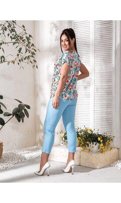 Костюм двойка bb-143 женский повседневный блуза+брюки голубой