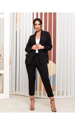 Костюм тройка bb-1432 женский брюки/пиджак/майка  черный+белый
