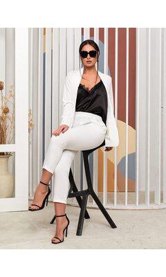 Костюм тройка bb-1432 женский брюки/пиджак/майка  белый+черный