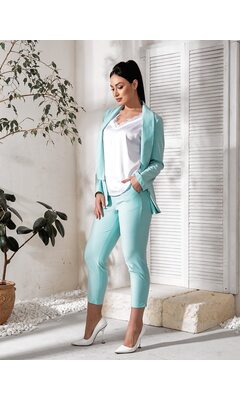 Костюм тройка bb-182 женский брюки/пиджак/футболка  мята+белый