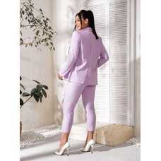 Костюм тройка bb-182 женский брюки/пиджак/футболка  лаванда+белый