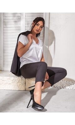 Костюм тройка bb-182 женский брюки/пиджак/футболка  графит+белый