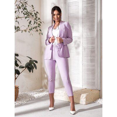 Костюм тройка bb-182 женский брюки/пиджак/футболка  лаванда+белый Производитель Одесса