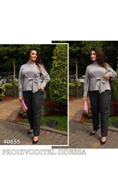 Блуза j-0203 женская под поясок рукав на манжете R-40655 серый