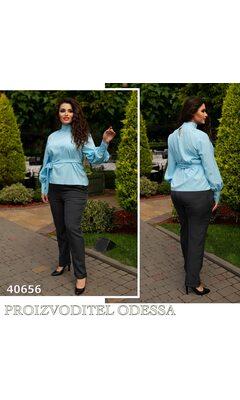 Блуза j-0203 женская под поясок рукав на манжете R-40656 голубой