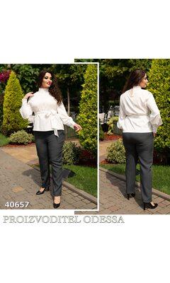 Блуза j-0203 женская под поясок рукав на манжете R-40657 белый
