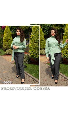 Блуза j-0203 женская под поясок рукав на манжете R-40658 оливковый